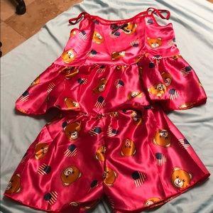 New pink pajama teddy bear usa heart set